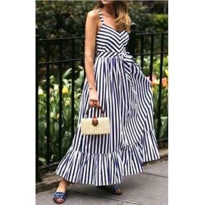 J CREW Nautical Stripe Cross Strap Maxi Dress 12